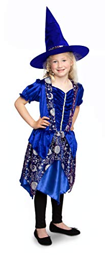 Folat 63435 heks jurk met hoed Dark Moon - kindermaat S, Girls, blauw, 98-116