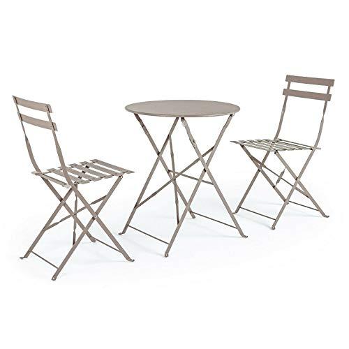Set tavolo e sedie da giardino in acciaio ferro tortora esterno pieghevole