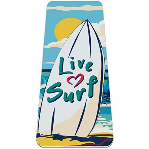 Eslifey Esterilla de yoga con patrón de playa de surf gruesa antideslizante para mujeres y niñas, tapete de ejercicio suave de pilates (72 x 24 pulgadas, 1/4 pulgadas de grosor)