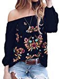 ZXZY Women Embroidered Off Shoulder Long Sleeve Bohemian Floral Blouse Top Tshirt Black