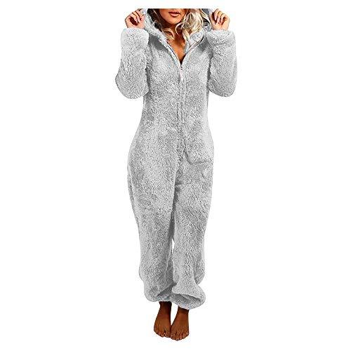 Jinlinjew Pijama de Lana Todo en una Pieza para Mujer con Oreja de Conejo - Mono Onesie Pijama con Capucha de Felpa Ropa de Dormir de Lana cálida para Mujer