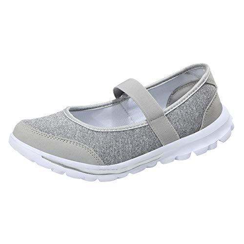 Mocassins Femme, Chaussures à Fond Mou Chaussures en Tissu Respirant Casual Chaussures Chaussures Bateau de Sport BaZhaHei(35 EU,Gris)