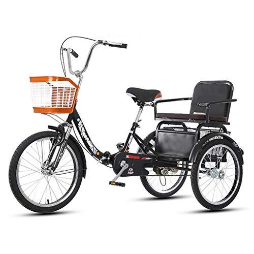 OFFA Triciclo Adulto 20 Pulgadas Seniors, Bicicletas De 3 Ruedas Adult Tricycle Cruise Pick Up Children, con Compras Canasta De Gran Tamaño Hombre para Mujer Scooter De Bicicleta