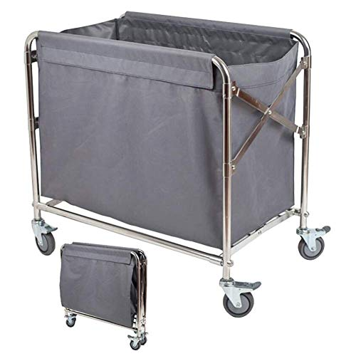 LJWJ Carts,Storage Car Service Car Utility Vehicle Multifunction Portable Trolley Home Commercial Collapsible Laundry Hamper Sorter Cart with Brake Wheels, Heavy Duty Service Rolling Cart with Remova