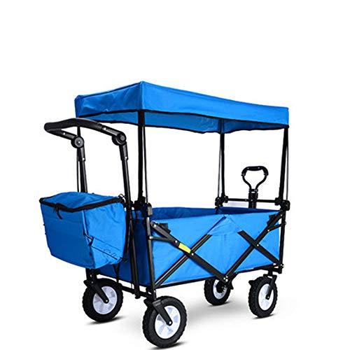 HDGZ Chariot charrette remorque de Jardin Transport à Main en métal Charge maximale de 300 kg Robuste Montage Simple et Rapide avec bâche et Parties latérales Amovibles(B)