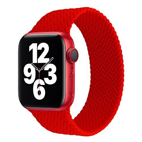 Hspcam Solo Loop para Apple Watch Band 44mm 40mm 38mm 42mm Textura trenzada elástica Silicona correa para iWatch Series 6 5 4 3 se correa (42mm o 44mm, rojo)