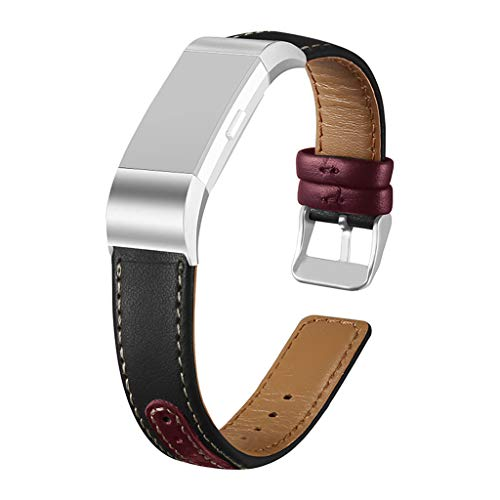 TeaBoy Leather Bands Compatible with Fitbit Charge 2, Replacement Sport Accessories Retro Bracelet Wristbands Strap Band Compatible with Fitbit Charge 2 Fitness Tracker