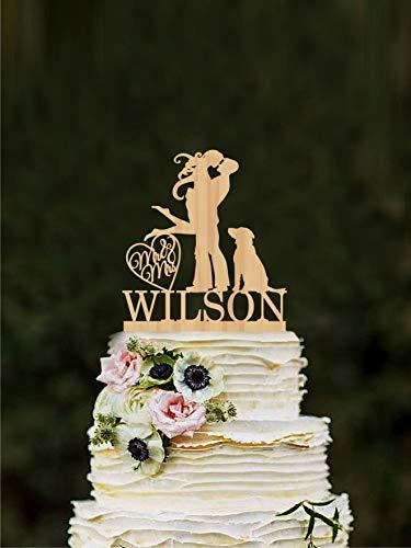 DKISEE Decoración de boda silueta de madera Mr and Mrs Cake Topper personalizado para tartas figuras de compromiso, silueta de tarta