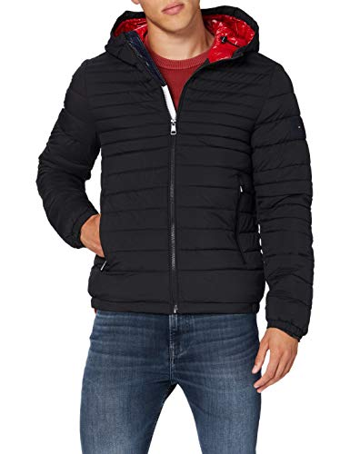 Tommy Hilfiger Herren Quilted Hooded Jacket Jacke, Black, L