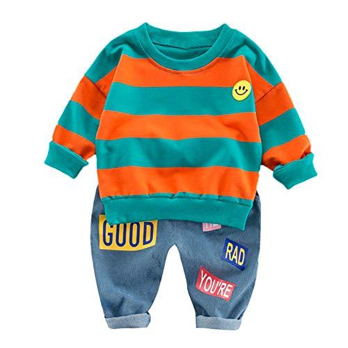 BURFLY Winter Baby Anzug Kleinkind gestreiften Langarm Smile Print Pullover Sweatshirt Tops + Brief Print Hosen Set Outfits