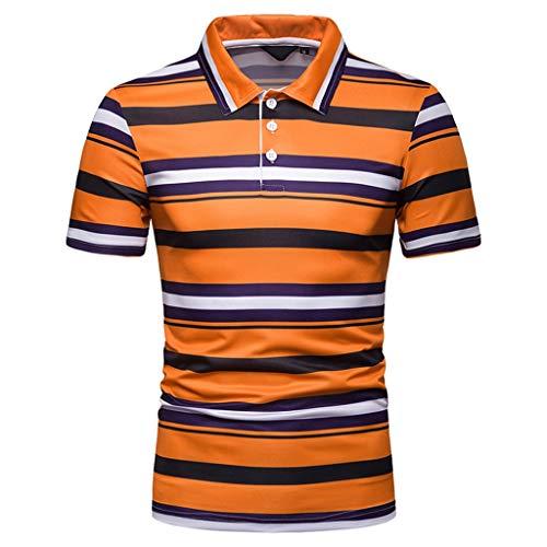 Luckycat Premium Herren Pique Polo-Shirt Herren Streifen Poloshirt Kurzarm Patchwork Sommer T-Shirt Men\'s Polo Shirt Baumwolle Herren Poloshirt Polohemd T-Shirt Shirt Mit Polokragen