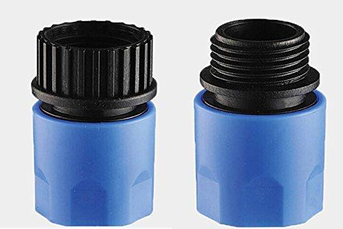 Topways® blau Elastischer Gartenschlauch mit Stecker und Buchse Adapter Stecker für Wasserhahn und Spray