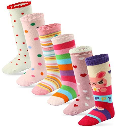 Cottock 6 Pares Bebé Niña Calcetines Hasta la Rodilla Algodón Calcetines Antideslizantes para Niñas (6 Pares Princesa, 5-7 años)