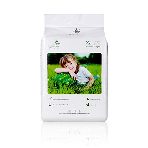 ECO BOOM Pañales Ecológicos, 62 pañales Talla Tamaño 5 (27LB+) suministro para UN MES, Pañales biodegradables para bebés de fibras de Bambu Sin sustancias nocivas Pañales Desechables