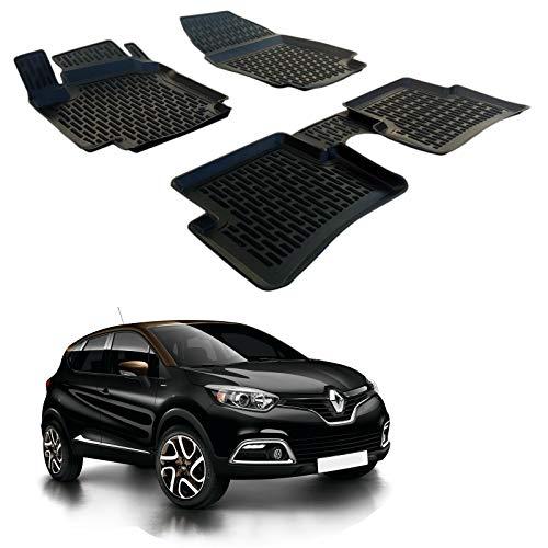 SCOUTT | 3D Tapis DE Sol en Caoutchouc Premium Compatible avec Renault CAPTUR 2014-2019 4 piéces