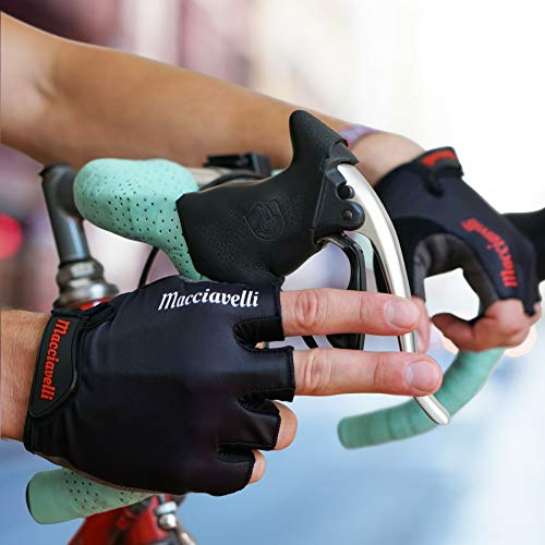 MACCIAVELLI Fahrradhandschuhe Radsporthandschuhe Vollfinger & Halbfinger (Schwarz | Rot, S) - 5