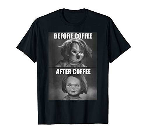 Child's Play Chucky Before Coffee After Coffee T-Shirt