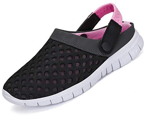 Zuecos Mujeres Zapatillas de Playa Malla Respirable Zapatos Enfermera Verano Ahueca hacia Sandalias Rosa 37 EU