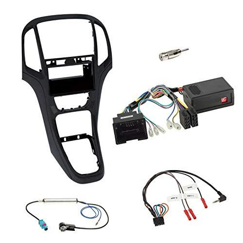 Einbauset mit Lenkradadapter für DIN Autoradio in Opel Astra J (2009-2016) - Perl schwarz
