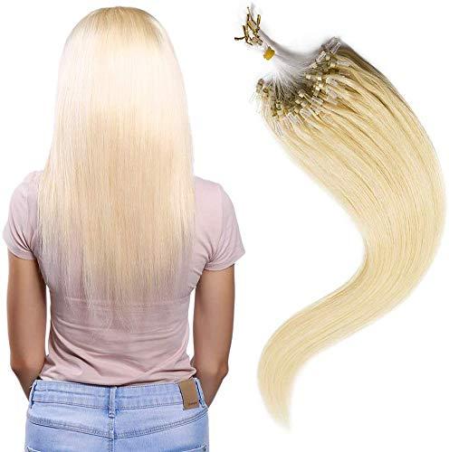 ring light 55 cm SEGO Extension Capelli Veri Anelli Biondi 100 Ciocche Microring 100% Remy Human Hair Extensions Anellini 55cm senza Clip #613 Biondo Chiarissimo