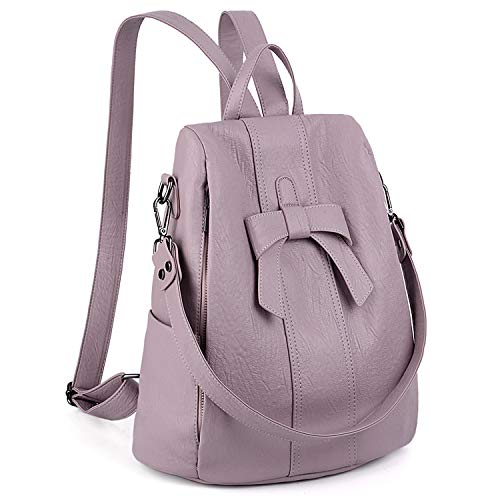 UTO Women Anti-Theft Backpack Purse PU Washed Leather Convertible Ladies Rucksack Bowknot Shoulder Bag Pink