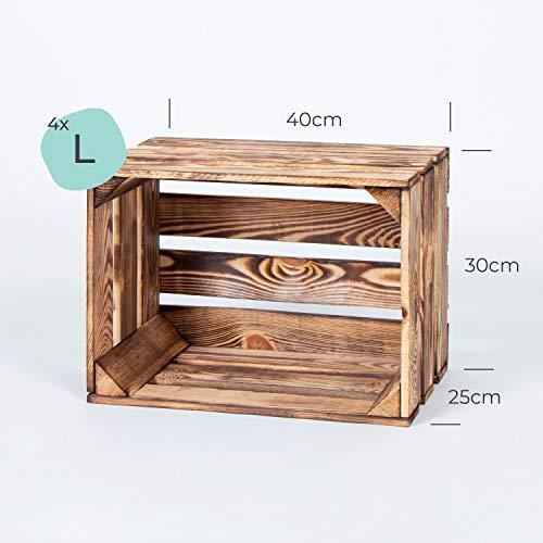 LAUBLUST 7er Set Vintage Holzkisten – Kisten in 2 Größen, 50x40x30cm / 40x30x25cm, Geflammt, Neu, Unbenutzt | Möbel-Kiste | Wein-Kiste | Obst-Kiste | Apfel-Kiste | Deko-Kiste aus Holz - 6
