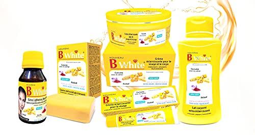 Pack completo de gama B White Curcuma con Safran – Crema, loción, aceite corporal, crema facial y jabón