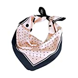 JUNGEN Bufanda Cuadrada para Mujer Bufanda de Lunares de pequeña Bufanda de Seda de imitación Bufanda de pañuelo para Decoracion de Cuello y Bolsa Size 70cm (Rosa)