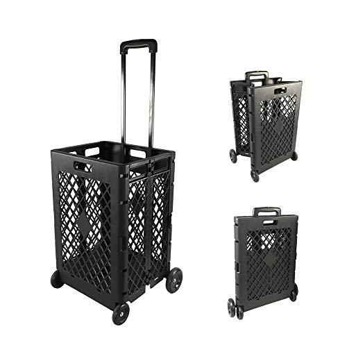 WSHA Tragbare Rolling Crate Handcart Faltbare Dienstprogramm Einkaufsmittelwagen Mit Teleskopgriff, Für Einkaufsgepäck Beach