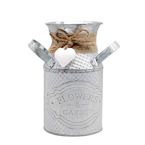 Garneck – Soporte para Flores rústico Shabby Chic Metal Vintage Jarra para jardín de casa estantería de Libros decoración (Rosa), Hierro, Blanco, 13 × 8 cm