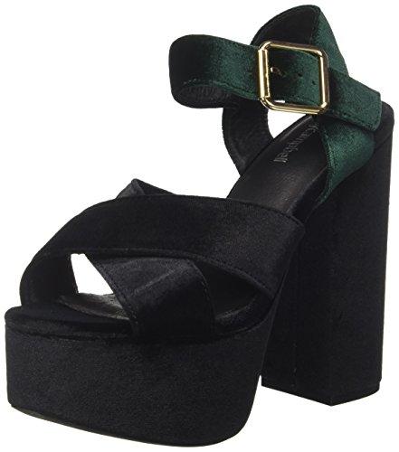 Jeffrey Campbell 16f021 Velvet, Sandales Plateforme Femme, Multicolore (Black/Green), 39 EU