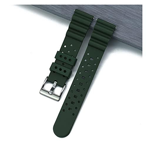kasu Correa de reloj de goma de silicona corrugada 20 mm 22 mm Relojes rápidos Relojes Bandas de buceo Ajuste impermeable para cada banda de relojes de marca ( Band Color : Green , Band Width : 20mm )