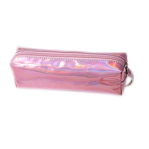 Fablcrew - Trousse de grande capacité, brillante à fermeture éclair pour stylos ou produits de maquillage - Idéal pour la maison, l'école, le bureau 19 * 9 * 6CM rose