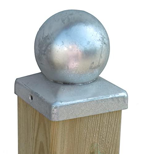 Verzinkte Kugel Pfostenkappe Pfostenabdeckungen Pfostenschutz als Abdeckkappe Zaunkappe für Holzpfosten 70 bis 120 mm Holzbalken, Pfosten für Holz-Zaun Holz-Schaukel (70 x 70 mm verzinkt)