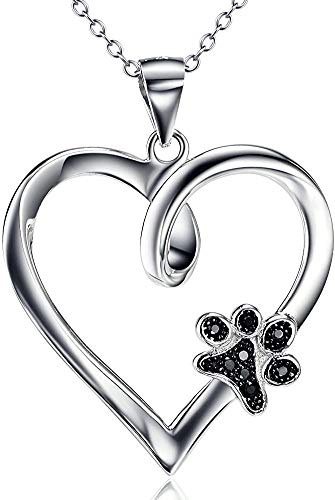 BGTY Dog Paw Heart Pendant Necklace 925 Sterling Silver Animal Jewellery for Women Girls, 18' Rolo Chain