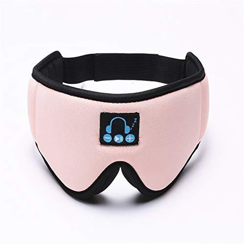 ZLDMYC 5.0 3D estéreo del Auricular de Bluetooth inalámbrico Diadema Suave Dormir máscara de Ojo de Música Receptor de Cabeza por Manos Libres Ayuda a Dormir (Color : Pink)