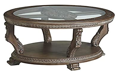 Signature Design by Ashley - Charmond Traditional Oval Cocktail Table, Brown