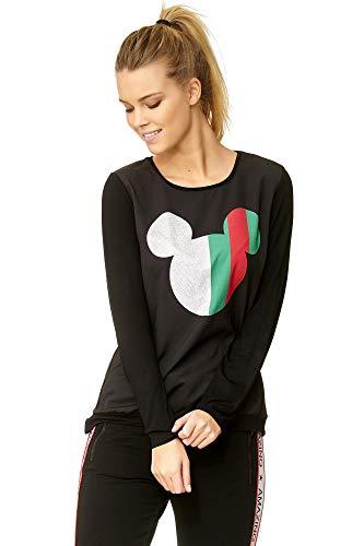 DECAY Damen Langarmshirt weiß schwarz Micky Mouse - süßes Oberteil - MD1352 (schwarz, M)