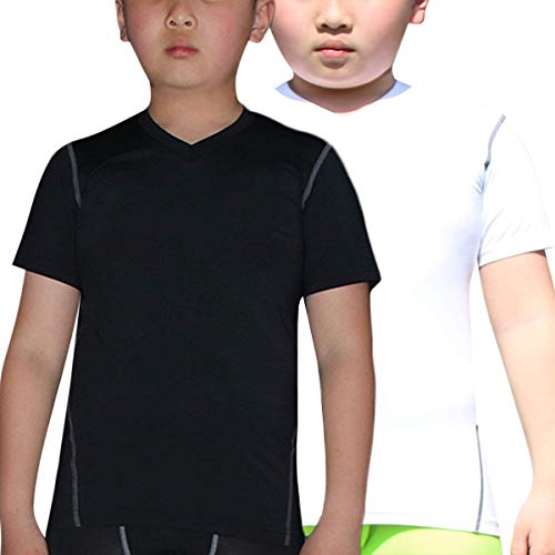 Youth Boys' 2 Packs Workout Shirts Cool Dry Short-Sleeve Training Undershirts Tops