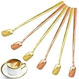 Cuchara de mango largo,Cucharas de postre de acero inoxidable para cóctel que revuelve el café (6 piezas, oro, oro rosa)