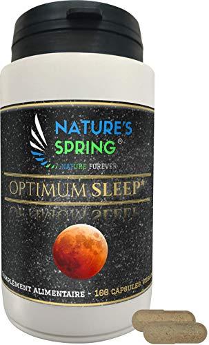 Complément Alimentaire Sommeil ⭐ OPTIMUM SLEEP ⭐ Complexe Synergique à base de plantes d'aide à l'endormissement ☘️ 100 Gélules 100% VEGAN en Pullulan ☘️ Fabriqué en France par NATURE'S SPRING ®☘️