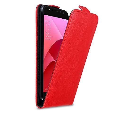 Cadorabo Hülle für Asus ZenFone 4 Selfie Pro in Apfel ROT - Handyhülle im Flip Design mit Magnetverschluss - Hülle Cover Schutzhülle Etui Tasche Book Klapp Style