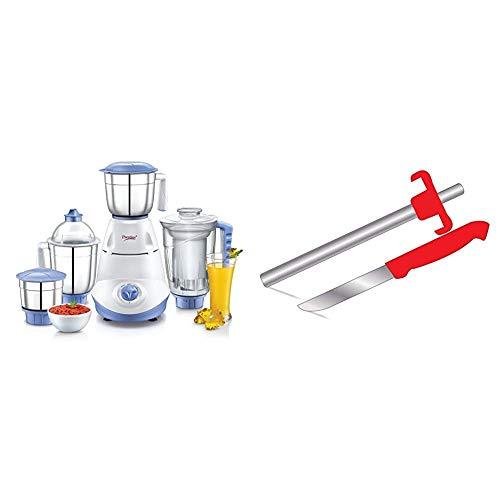 Prestige Iris 750 Watt Mixer Grinder With 3 Stainless Steel Jar + 1 Juicer Jar (White And Blue) &...