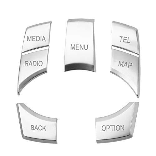 Auto-Multimedia-Tasten Abdeckung, Multimedia Knopf Abdeckung Auto Multimedia Taste Abdeckung Knopf Rahmen Auto Multimedia Taste Autoinnenausstattung für 123 Series 5 X1 X3 X5 X6, Silber