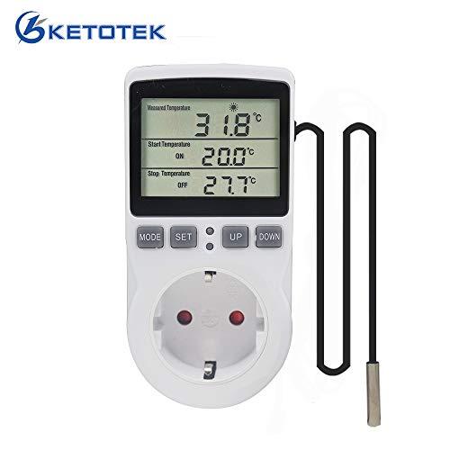 KETOTEK Temperaturregler Steckdose 230V mit Fühler Digital Thermostat Steckdose mit Timer Steckdosenthermostat Timing Schalter für Gewächshaus Aquarium Heizung Kühlung