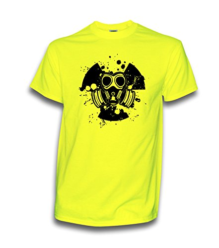 NEON T-Shirt Hardstyle Gasmask KOPFHÖRER Techno Electro DJ Deejay UV Schwarzlicht Disco (L)