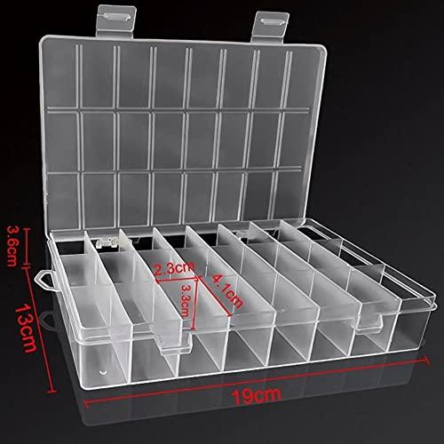 Caja práctica Caja de almacenamiento de plástico con compartimento de 24 rejillas Caja de soporte de tornillo de cuentas de joyería de maquillaje Contenedor de exhibición-24 rejillas