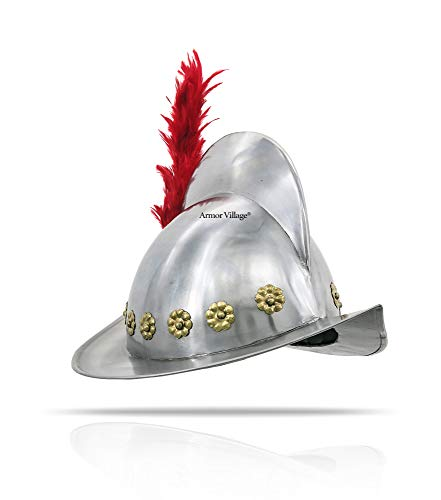 Spanish Comb Morion Medieval Helmet with Red Plume Authentic Replica Collection Pieces Full-Sized, Free Head Liner Gift Included