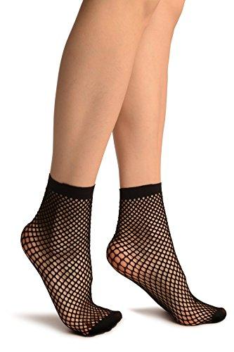LissKiss Black Thick Mesh Socks Ankle High - Schwarz Socken, Einheitsgroesse (37-42)