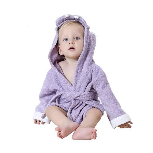 LOKKSI - Albornoz unisex con capucha para niños y niñas, pijama de algodón esponjoso para niños de 1 a 6 años a 2 años (M)
